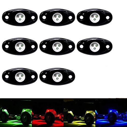 OPP ULITE RGB Led Rock Lights Kit 8 Pods Rock Light Bluetooth Control 14 Colors DIY 15 Turning Timing Music Flashing Neon Led Interior Lights for Je-ep UTV Offroad Truck SUV ATV Motorcycle (8pods)