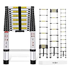 One Button Retraction: Convenience is key! That's why we've designed this ladder with easy one button retraction. Simply press down on the thumb buttons and the ladder (completely extended condition) will slide down effortlessly. Premium Aluminum All...