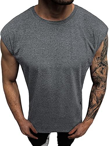 OZONEE Herren Tank Top Tanktop Tankshirt Ärmellos Bodybuilding Shirt Unterhemd T-Shirt Muskelshirt Achselshirt Ärmellose Training Gym Sport Fitness Freizeit Rundhals O/1265Z DUNKELGRAU XL