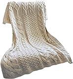 SAOL Patchwork Super Soft Merino Wool Knit Throw/Blanket 42' x 64'