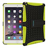 TKOOFN Heavy Duty Silicon Defender Multilayer Protective Skin Military Bumper Antislip Case Cover with Built in Stand for 2014 iPad Air 2 + Screen Protector + Stylus + Cleaning Cloth, Green