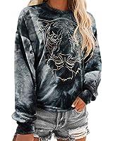 RUUHEE Women Tie Dye Long Sleeve Sweatshirt Printed Cute Casual Pullover Shirt (M(US Size 6-8),Black-1)