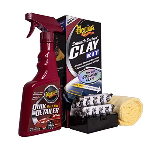 Meguiar's G1016EU Smooth Surface Clay Kit Lackreinigungsset, 473 ml+2*80 g