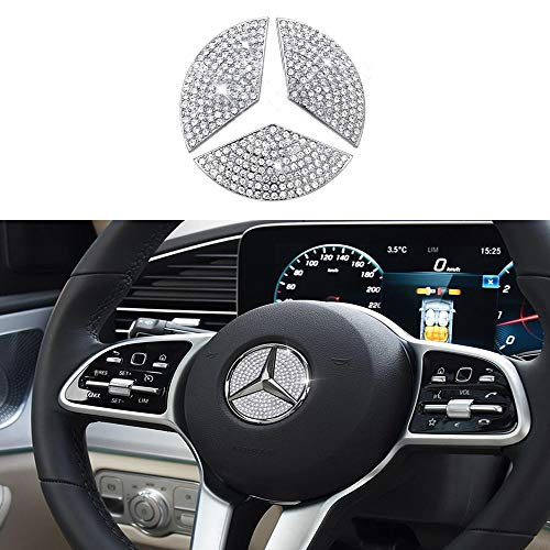 Steering Wheel Bling Crystal Emblem for Mercedes Benz, Shiny Accessories Parts Logo Sticker Badge Decals Covers Interior Decorations (S-45MM)