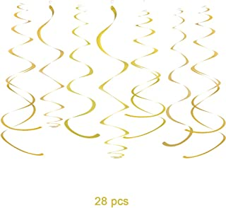 WEVEN Gold Party Hanging Swirl Decorations Plastic Streamer for Ceiling, Pack of 28