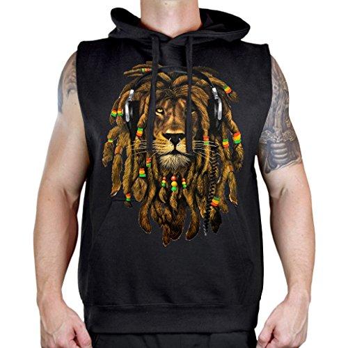 Men's Dreadlock Rasta Lion Headphones Sleeveless Vest Hoodie 2X-Large Black