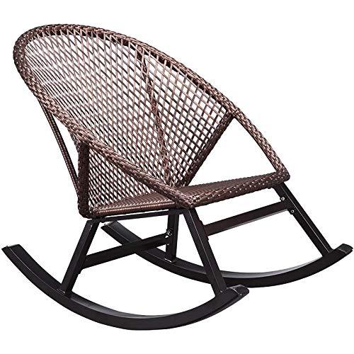 Rocking Chair Mecedora - con Forma ergonómica, Comfort Mesh 70% de PVC + 30% de poliéster, Armazón de Aluminio, Incluye Almohada, Silla perezosa de ocio