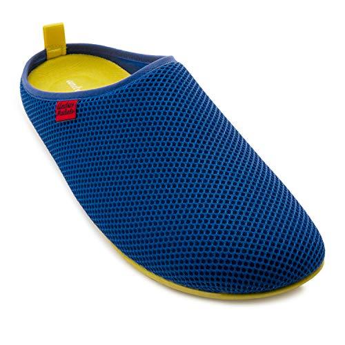 Unisex Hausschuhe in Blau für Damen / Herren – für den Sommer – Pantoffeln - DYNAMIC – mit atmungsaktiver technischer 3D Netzstruktur – rutschfeste gelbe Gummisohle und herausnehmbares Fußbett EU 46