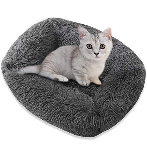 Cama para Perros y Gatos,Mascotas Calentito Cojín Redondo Suave de Felpa Cama para Gatos Donut para Perros Suave y cómoda y Antideslizante Apta para Gatos y Perros pequeños y medianos
