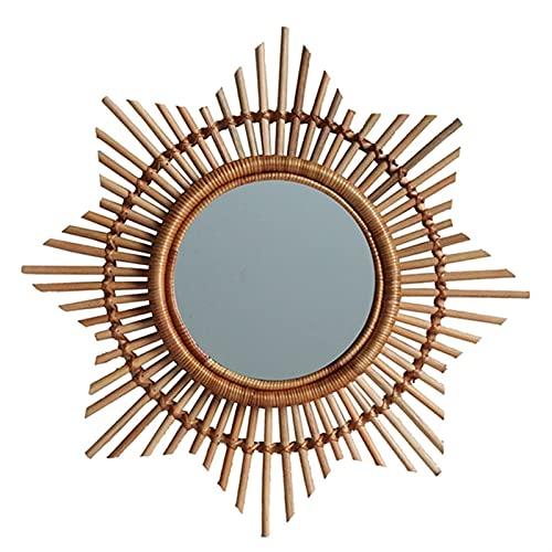 SRXSMGS Espejo Espejo de Maquillaje de ratán Tejido a Mano Encaje Gafas de Sol Marco de Marco de Pared Espejo Decorativo de Pared (Color : A)