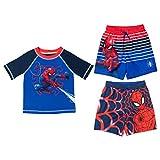 Marvel Avengers Spiderman Toddler Boys Rash Guard Swim Trunks Set Multicolor 4T