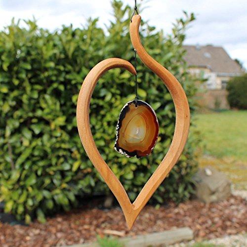 mitienda mit Liebe gemacht Fensterdeko Lindenblatt - Stein Natur, Fensterschmuck, Holzdeko, handgemachte Deko
