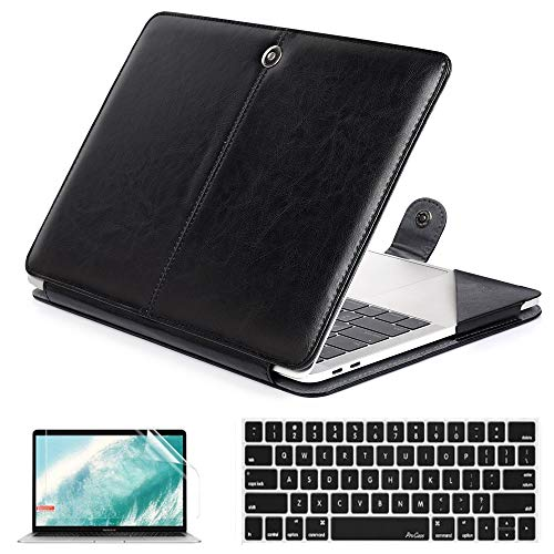 QYiD MacBook Pro 13 Case 2019 2018 2017 2016 Release A2159 A1989 A1706 A1708, Premium Leather Folio Cover with Keyboard Cover & Screen Protector for MacBook Pro 13 Inch with/Without Touch Bar, Black