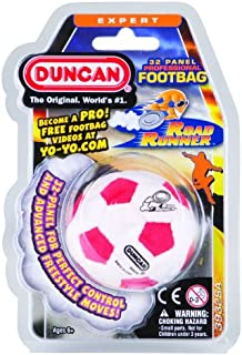 Duncan Toys 3932SA Roadrunner Footbag [Red/White/Yellow/Green/Black] - 32 Panel, Sand Filled, Synthetic Leather - For Beginners. Freestyle Footbagging