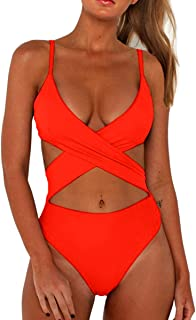 1801037fb7 CHYRII Women's Sexy Criss Cross High Waisted Cut Out One Piece Monokini  Swimsuit