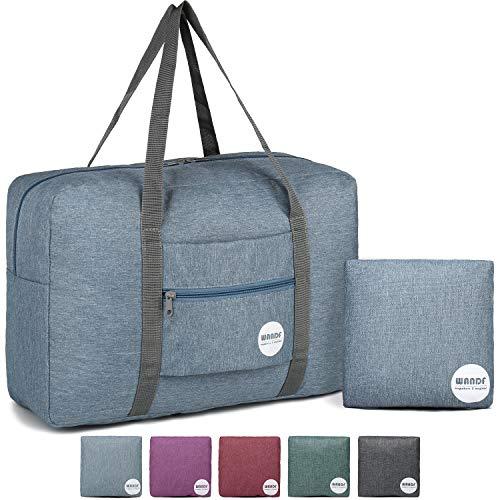 WANDF Leichter Faltbare Reise-Gepäck Handgepäck Duffel Taschen Übernachtung Taschen/Sporttasche für Reisen Sport Gym Urlaub Weekender handgepaeck (A - Kationisches Blau)