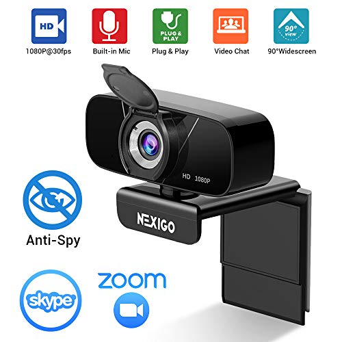 1080P Streaming Webcam with Microphone & Privacy Cover, 2020 NexiGo N620 Web Camera, 90-Degree Wide Angle, for PC/Mac Laptop/Desktop, Zoom Skype FaceTime Teams