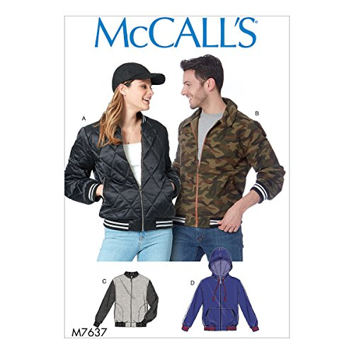 McCall Patterns M7637 XM Misses' and Men's Bomber Jackets Sewing Pattern, Size SML-MED-LRG (7637)