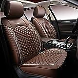 Fundas de asiento Auto Universal Set, cojines de cuero para asientos delanteros y traseros con fundas de asiento de airbag Protección de asiento (color: marrón)