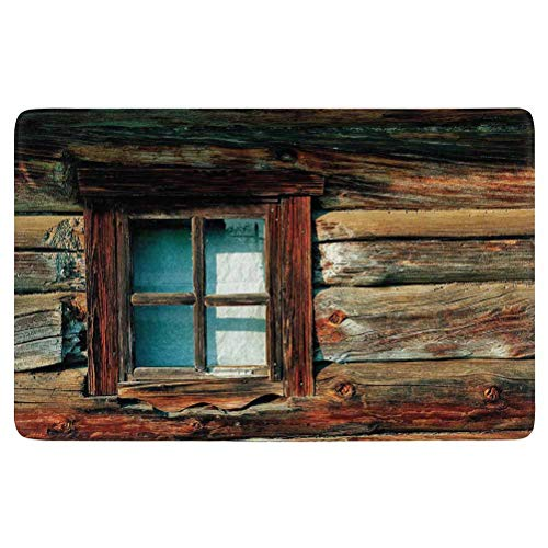 SoSung Scenery Decor Area Rug,Single Window with White Curtain on a Wooden Made Lumberjack House Photo,for Living Room Bedroom Dining Room,5'x 3',Brown and Blue