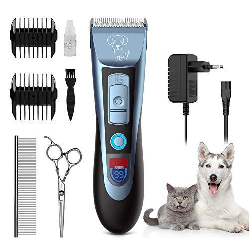 Uiter Tierhaarschneidemaschine, Profi Hundeschermaschine Elektrische Tierhaarschneider Wiederaufladbare Haarschneider Kabellos Geräuscharmer Hunde Schermaschine Trimmer mit 2 Aufsätze und LED-Anzeige