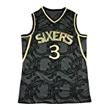 Camiseta de Baloncesto Sixers # 3 Iverson para Hombre, Camiseta sin Mangas Unisex con Bordado Retro de Camiseta de Baloncesto Swingman Edition (S-XXL)-M