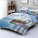 Juego de funda nórdica, piscina ilimitada como combinación con el cielo en las nubes de la isla Journey Relax Print Juego de cama decorativo de 3 piezas con 2 fundas de almohada, azul marrón, el mejor