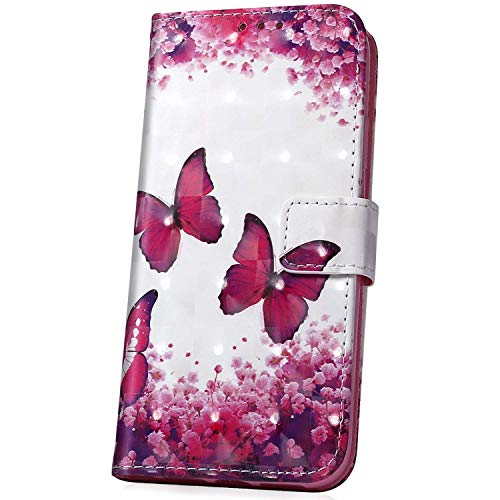 Surakey kompatibel mit LG X Power 3 Hülle Handyhülle 3D Muster PU Leder Tasche Schutzhülle Brieftasche Handytasche Flip Hülle Wallet Tasche Etui Lederhülle für LG X Power 3,Schmetterling