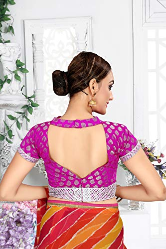 Blue Art Silk Solid Pattern Short Sleeve Non-Padded Blouse Indian Designer Stitched Readymade Blouse For Women Party Wear Top Tunic Choli
