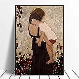Dabbledown Cuadros Decorativos Famoso Cuadro Abstracto Madre e Hijo de Gustav Klimt, Impresiones artísticas para Pared, decoración de Cuadros 60X90CM