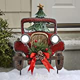 Vintage Truck Christmas Garden Stake with Solar Lights, Faux Tree and Pinecones