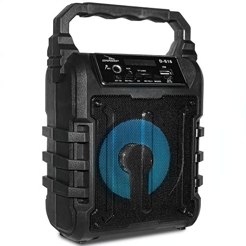 Caixa De Som Bluetooth 12W Rms Grasep D-S18 Portátil Mp3 Com Leds Rádio Fm Entrada para Microfone P10 USB Pen drive MicroSD Cartão de memória P2 Auxiliar (Preto)