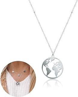 Wudi Colgante Continentes 1PC Mundial Mapa Mundial Collar Redondo del diseño Simple de la Tierra Globo Colgante Collar de Regalo de la joyería para Muchachas de Las Mujeres (Plata)