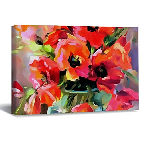 Poppies In A Glass Vase Canvas Picture Painting Artwork Wall Art Poto Framed Canvas Prints for Bedroom Living Room Home Decoration, Ready to Hanging 16'x24'