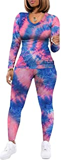 Women 's Casual Two Piece Outfits Tie Dye Short Sleeve T-Shirts Bodycon Shorts Outfit Sports Suit Tracksuit Jumpsuits