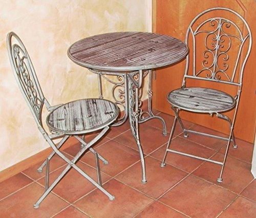 Unbekannt Tisch + 2 Stühle, Sitzgruppe, aus Metall in Holz-Optik 55516