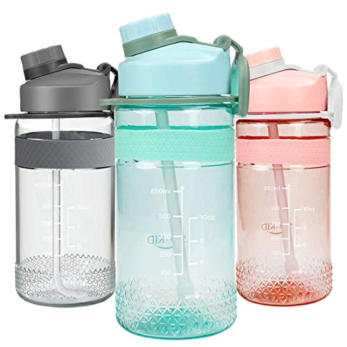 Bottiglia Acqua Sportiva, Borraccia Plastica 653ml Bambini Water Bottle - A Prova di Perdite Senza Bpa per Palestra, Scuola, Bambini, Viaggi