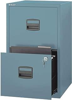 Bisley Two Drawer Steel Home or Office Filing Cabinet, Steel Blue (FILE2-SB)