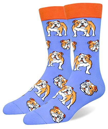 French Bulldog Socks for Men, Funny Novelty Crazy Animal Cozy Cool Party Crew Dog Socks Gift Blue