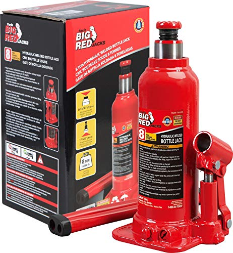 BIG RED TAM90803B Torin Hydraulic Welded Bottle Jack, 8 Ton (16,000 lb) Capacity, Red
