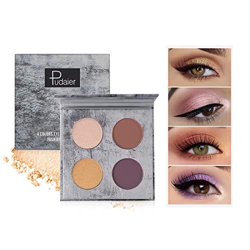 OLesley Sombras de ojos Profesional Shimmer Matte Glitters Sombra de ojos en polvo 4 colores Impermeable de alta gama Sombra de ojos en polvo Ideal paleta de sombras de ojos cosmético (04)