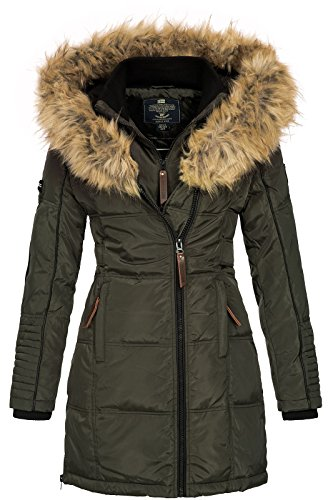 Geographical Norway Beautiful - Piumino da donna, con cappuccio in pelliccia Kaki Small