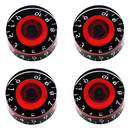 Mxuteuk 4pcs Negro y Rojo Guitarra Eléctrica Bajo Top Sombrero Perillas Velocidad Volumen Tono AMP Efecto Pedal Control Botones KNOB-S8