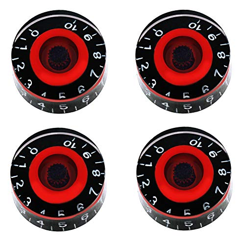 mxuteuk 4pcs Black and Red Electric Guitar Bass Top Hat Knobs Speed Volume Tone AMP Effect Pedal Control Knobs KNOB-S8