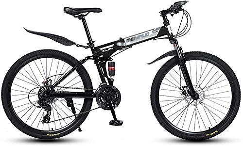Biciclette Pieghevoli in Mountain Bike da 26 Pollici con Freno a Disco 27 velocità Bicicletta Piena Sospensione Piena MTB Bici per Uomo o Donna Telaio Pieghevole-Nero_6. Evolutions