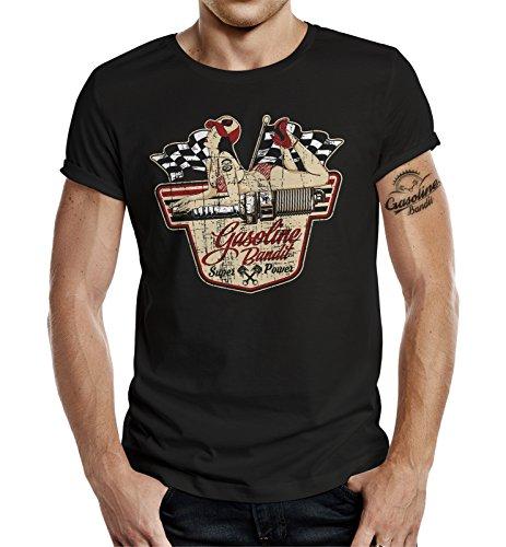 Gasoline Bandit Camiseta original Biker Racer Rockabilly con diseño de Superpower