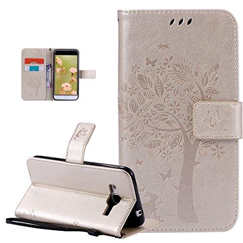 Ikasus Étui portefeuille en cuir synthétique pour Galaxy J3 Pro Motif papillons et fleurs Doré