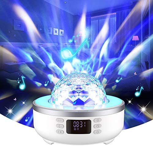 Star Projector Night Light Bluetooth Speaker Bedside Table Lamp with Alarm Clock FM Radio 360 product image