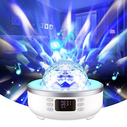 Star Proyector Luz de Noche Altavoz Bluetooth Lámpara de Mesita de Noche Reloj Despertador Radio FM Rotación de 360 ° 6 Películas, luz Cálida 7 Regalo que Cambia de Color para Niñas, Mujeres, Hombres