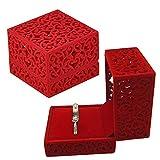 2 Piezas Caja para Anillos, NALCY Terciopelo Anillo de Caja, Caja de Terciopelo para Anillos Pequeños Anillos Dobles, Caja de Regalo para Anillo de Boda (Rojo)